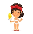 Woman in Swimwear with Boiled Corn vector image