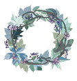 wreath with leaves and berries vector image vector image