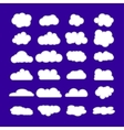 Set of clouds isolated on blue background Flat vector image