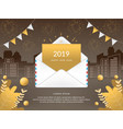 2019 happy new year with mail envelope vector image
