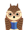 a cartoon portrait an owl with a book stylized vector image vector image