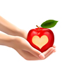 A heart carved into an apple vector image vector image
