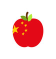 apple china flag chinese national fruit vector image vector image