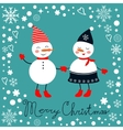 Beautiful Christmas card with two frosties holding vector image vector image