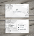 beautiful gray white flower business card vector image vector image