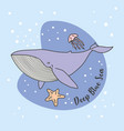 blue whale jelly fish in blue sea vector image vector image