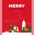 christmas and new year card retro winter city vector image