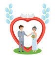 couple in love stands near arch wedding of people vector image vector image