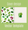 cover design with salad leaves pattern vector image vector image