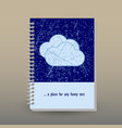 cover of diary or notebook grunge blue clouds vector image vector image