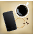 Cup Of Coffee With Mobile Phone vector image vector image