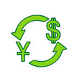 currency exchange sign china yuan and us dollar vector image vector image
