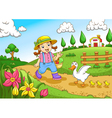 cute little farmers girl at a farm vector image vector image