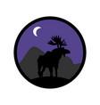 deer emblem moose logo animal with horns wild vector image vector image