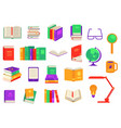 flat books pile office supplies set vector image