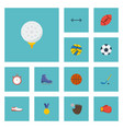 flat icons kettlebells ice boot puck and other vector image vector image