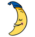 happy sleeping moon on white background vector image vector image