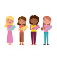 happy womens holding a her babies vector image