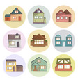 house icons set different type of houses vector image vector image