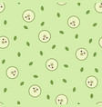 kawaii green apple pattern at green background vector image vector image