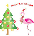 merry christmas card with flamingo vector image
