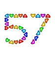 number 57 fifty seven of colorful hearts on white vector image