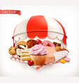 pastry shop confectionery sweet dessert cake vector image
