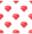 pixel heart seamless pattern vector image vector image