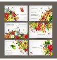 Postcard collection with floral bouquet for your vector image