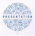 presentation concept in circle with thin line icon vector image vector image