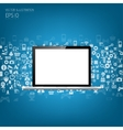 Realistic detalized flat laptop with application vector image vector image