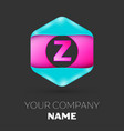 realistic letter z logo in colorful hexagonal vector image vector image