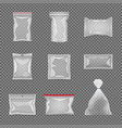 realistic transparent package set vector image vector image