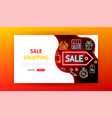 sale shopping neon landing page vector image