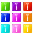 selfie stick with mobile phone icons 9 set vector image vector image