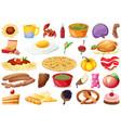set delicious food vector image