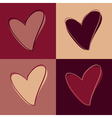 set of hearts marsala vector image vector image
