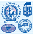 set of icons on the theme of cows milk vector image vector image