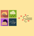 set of weather icons in flat style with shadow vector image vector image