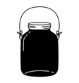 silhouette middle mason glass with wire handle vector image vector image