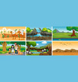 six scenes with people and animals vector image vector image