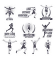 sport labels at marathon theme for sport teams vector image vector image