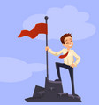 successfull mission businessman standing with red vector image