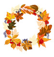 template with autumn wreath vector image vector image