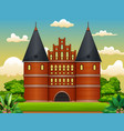 the holstentor in the middle of a vector image vector image