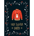 Ugly Sweater Party Invitation Card vector image vector image