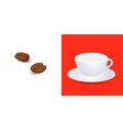 white empty cup mockup on plate and coffee grains vector image vector image