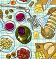 wine and cheese vector image