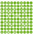 100 guns icons hexagon green vector image vector image