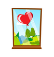 balloon in the form of heart outside the window vector image